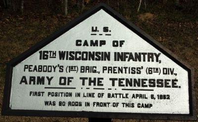 Camp of 16th Wisconsin Infantry Marker image. Click for full size.