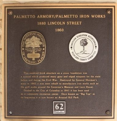 Palmetto Arsenal / Iron Works Marker image. Click for full size.