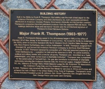 Building History / Major Frank R Thompson (1903-1977) Marker image. Click for full size.