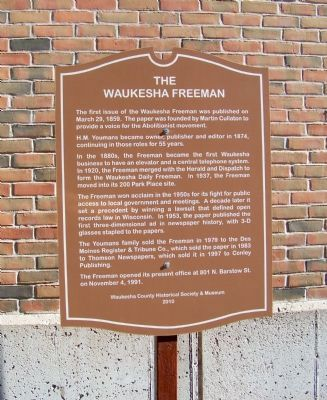 The Waukesha Freeman Marker image. Click for full size.