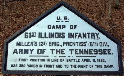 Camp of 61st Illinois Infantry Marker image. Click for full size.