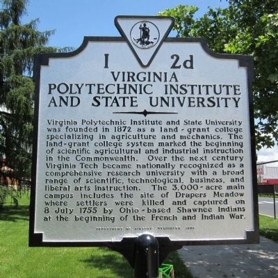 Virginia Polytechnic Institute and State University Marker image. Click for full size.