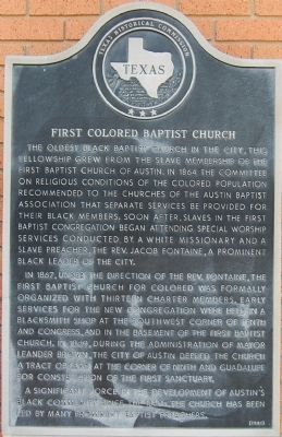 First Colored Baptist Church Marker image. Click for full size.