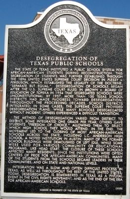 Desegregation of Texas High Schools Marker image. Click for full size.