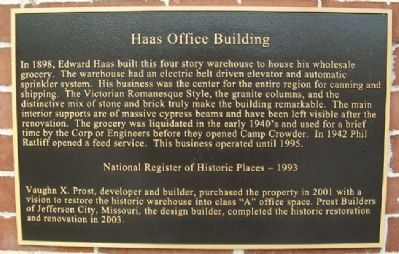 Haas Warehouse Building Marker image. Click for full size.