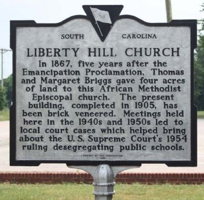 Liberty Hill Church Marker, new paint job image. Click for full size.