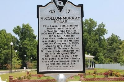 McCollum-Murray House Marker (front) image. Click for full size.