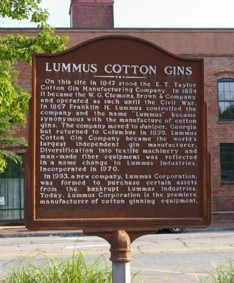 Lummus Cotton Gins Marker image. Click for full size.