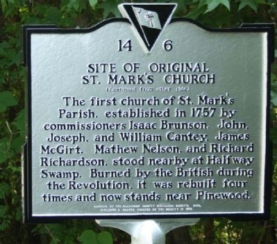 Site of Original St. Mark's Church Marker image. Click for full size.