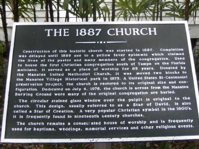 The 1887 Church Marker image. Click for full size.
