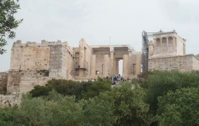 The Acropolis viewed from near marker - note extensive restoration work in progress image. Click for full size.