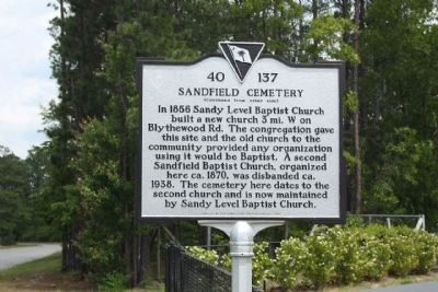 Sandfield Cemetery Marker image. Click for full size.