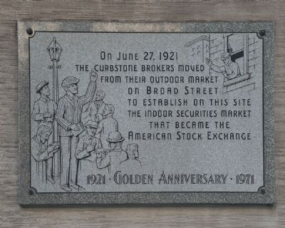 American Stock Exchange Marker image. Click for full size.