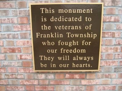 Franklin Township Veterans Monument image. Click for full size.