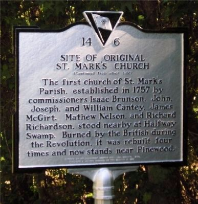 Encounter At Halfway Swamp / Site Of Original St. Mark's Church Marker image, Click for more information