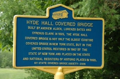 Hyde Hall Covered Bridge Marker image. Click for full size.