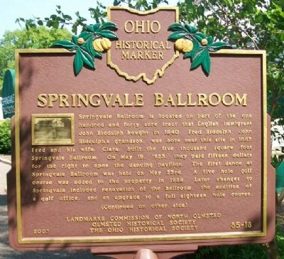 Springvale Ballroom Marker (Side A) image. Click for full size.