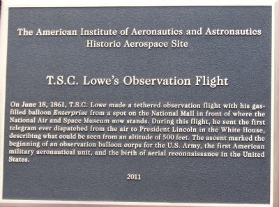 T.S.C. Lowe's Observation Flight Marker image. Click for full size.