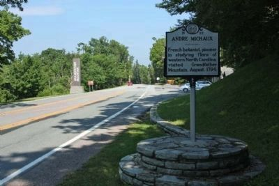 Andre Michaux Marker, looking north along US 221 at Grandfather Mountain image. Click for full size.