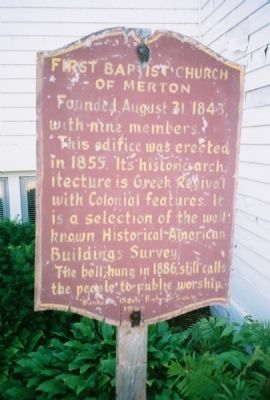 First Baptist Church of Merton Marker image. Click for full size.