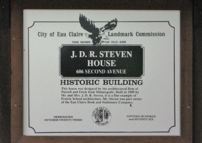 J. D. R. Steven House Marker Photo, Click for full size