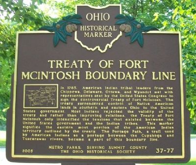 Treaty of Fort McIntosh Boundary Line Marker image. Click for full size.