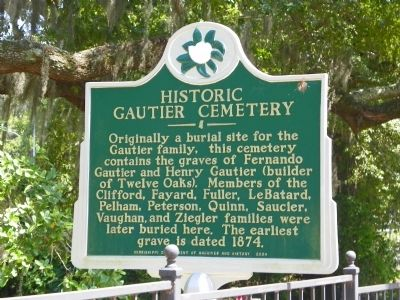 Historic Gautier Cemetery Marker image. Click for full size.