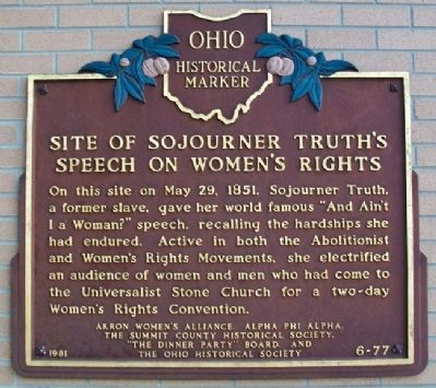 Site of Sojourner Truth's Speech on Women's Rights Marker image. Click for full size.