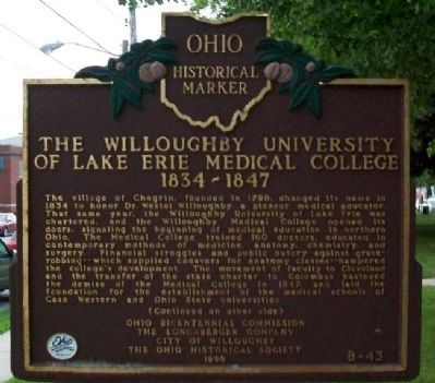 The Willoughby University of Lake Erie Medical College 1834-1847 Marker (Side A) Photo, Click for full size