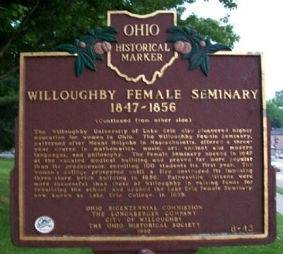 Willoughby Female Seminary 1847-1856 Marker (Side B) Photo, Click for full size