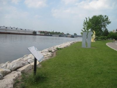 Marker and Artwork along the Fox River Trail. image. Click for full size.