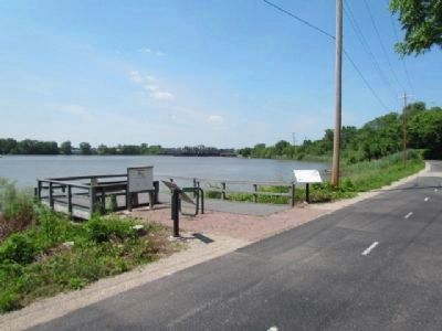 Impact and Hazelwood Markers beside the Fox River. image. Click for full size.