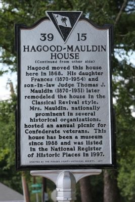Hagood-Mauldin House Marker (reverse) image. Click for full size.