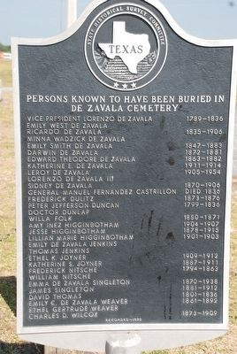 Persons Known to Have Been Buried in De Zavala Cemetery Marker image. Click for full size.