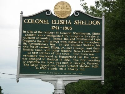 Colonel Elisha Sheldon Marker Photo, Click for full size