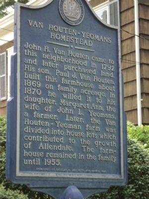 Van Houten-Yeomans Homestead Marker image. Click for full size.