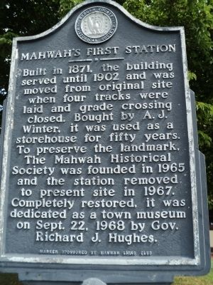 Mahwah's First Station Marker image. Click for full size.