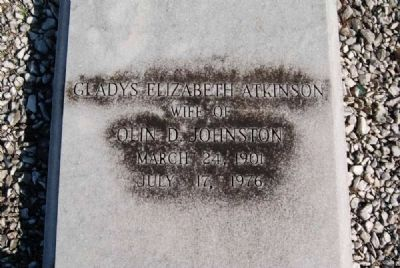 Gladys Elizabeth Atkinson Tombstone<br>Barkers Creek Baptist Church Cemetery Photo, Click for full size