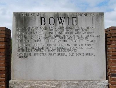 Bowie Marker<br>Front (East) Inscription image. Click for full size.