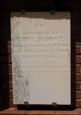Franklin Bowie Tombstone image. Click for full size.
