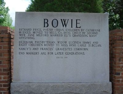Bowie Marker<br>Reverse (West) Inscription image. Click for full size.
