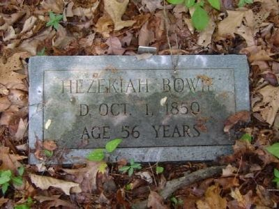 Hezekiah Bowie Tombstone<br>Old Bowie Cemetery image. Click for full size.