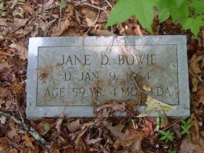 Jane D. Bowie Tombstone<br>Old Bowie Cemetery image. Click for full size.