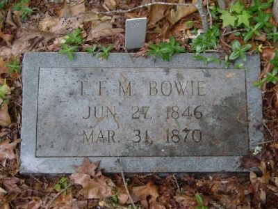 T.F.M. Bowie Tombstone<br>Old Bowie Cemetery image. Click for full size.