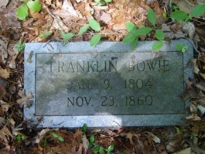 Franklin Bowie Tombstone<br>Old Bowie Cemetery image. Click for full size.