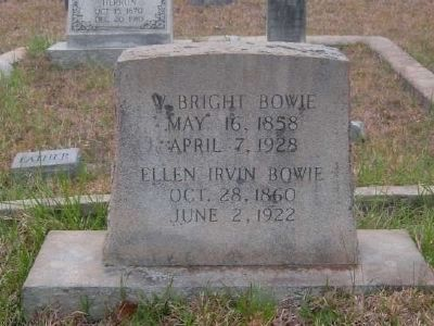 William B. & Ellen Irvin Bowie Tombstone<br>Gilgal Church Cemetery<br>Eli Bowie&#39;s Third Son image. Click for full size.