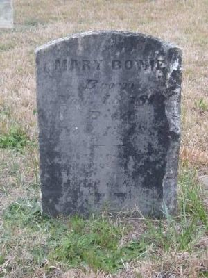 Mary Flory Bowie Tombstone<br>Gilgal Church Cemetery<br>Wife of James P. Bowie image. Click for full size.