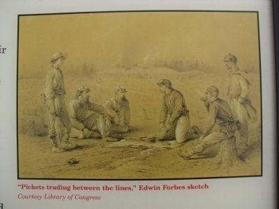 """Pickets trading between the lines,"" Edwin Forbes sketch image. Click for full size."