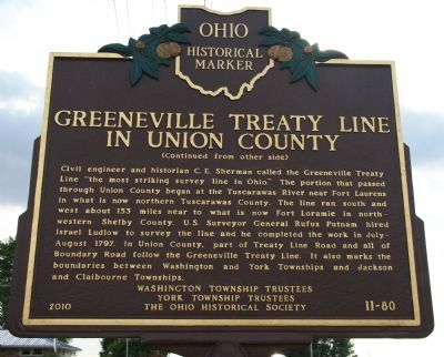 Greeneville Treaty Line in Union County Marker image. Click for full size.