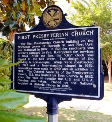First Presbyterian Church Marker, Side 2 image. Click for full size.